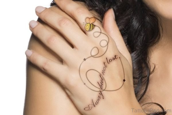 Wording And Bee Tattoo