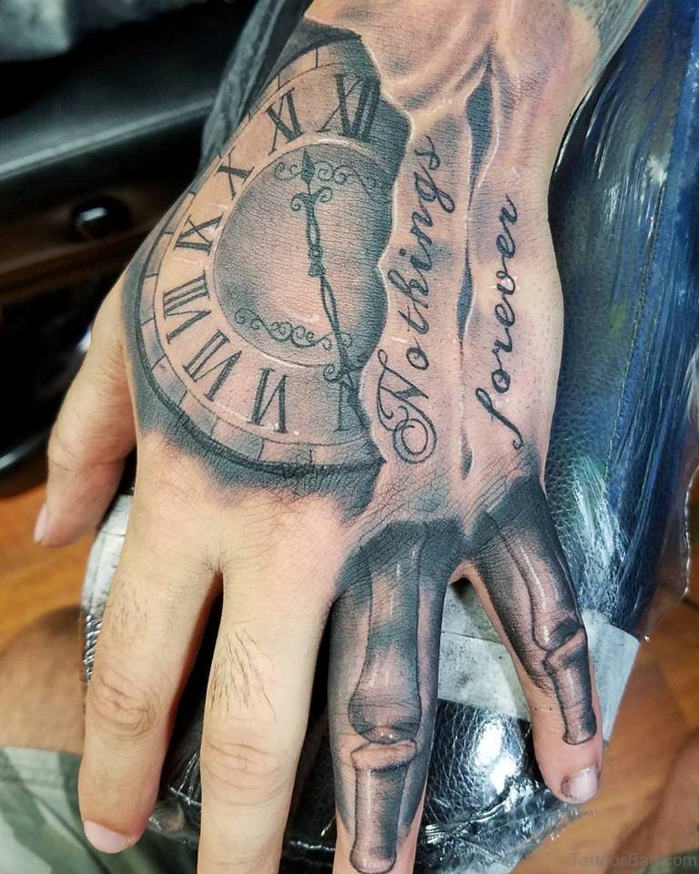 47 excellent clock tattoos for hand. Black Bedroom Furniture Sets. Home Design Ideas