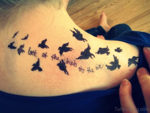 Wording And Flying Birds Tattoo