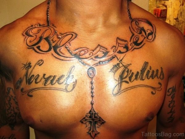 Wording And Rosary Tattoo