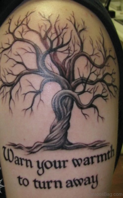Wording And Tree Tattoo