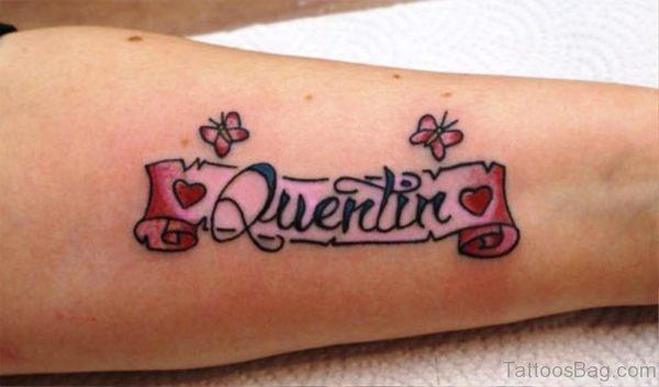 Wording Scroll Tattoo On Arm
