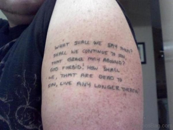 Wording Shoulder Tattoo