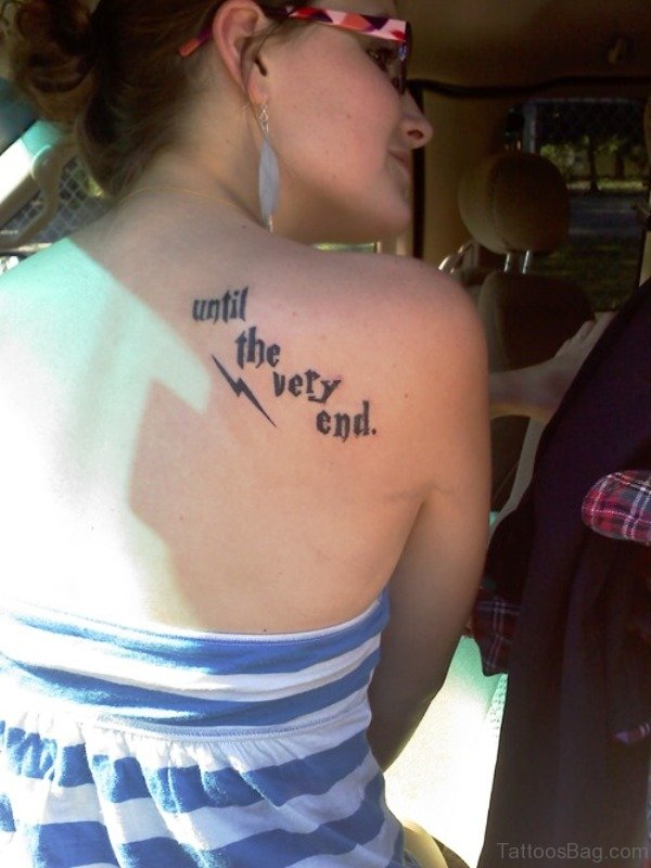 Wording Tattoo On Back Shoulder 1