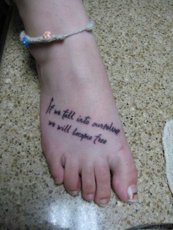 Wording Tattoo On Foot