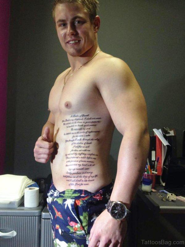 Wording Tattoo On Rib