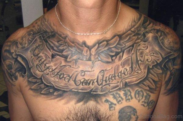 Nice Wording Tattoo On chest