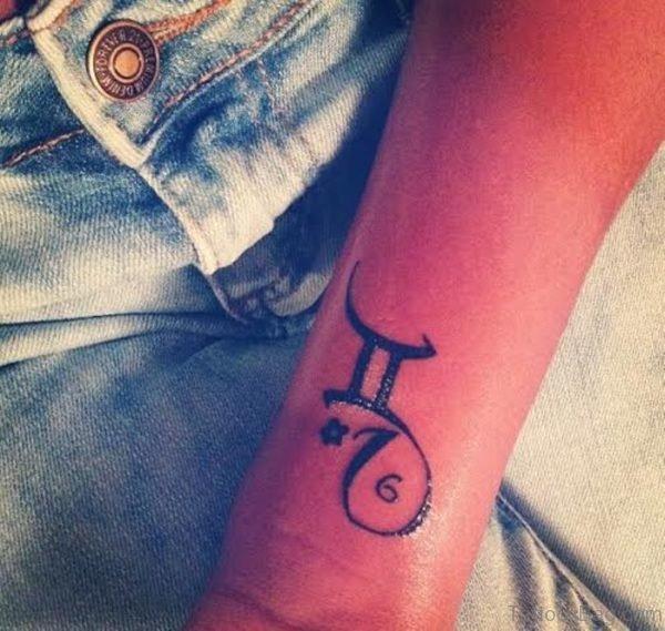 Wrist Black Gemini Tattoo