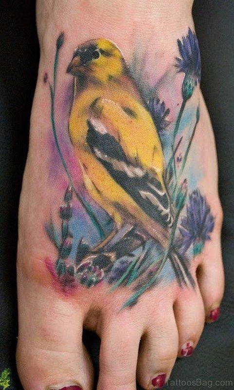 Yellow Bird Tattoo On Foot