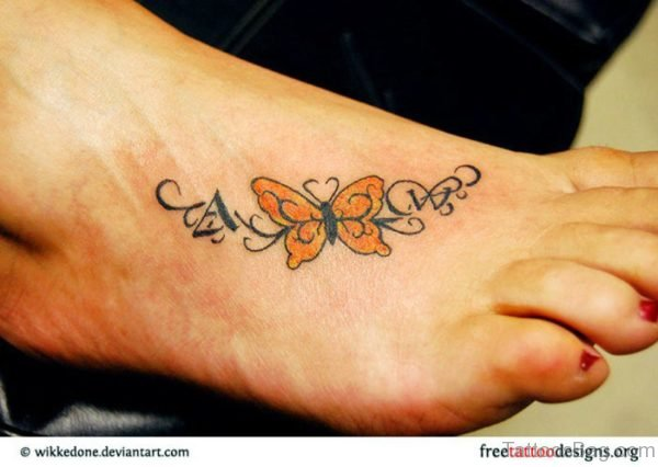 Yellow Butterfly Tattoo On Foot