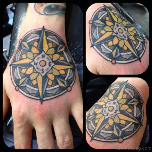 Yellow Compass Tattoo