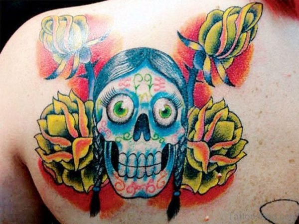 Yellow Flowers And Skull Tattoo