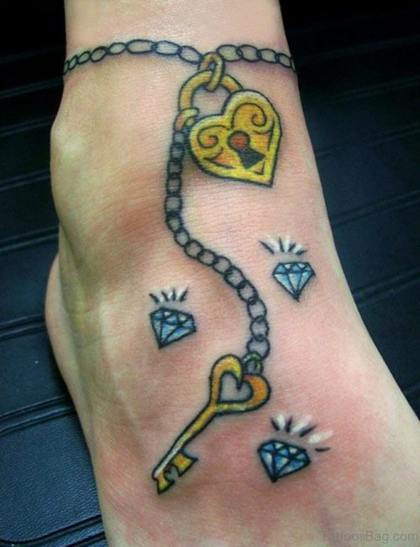 Yellow Lock And Key Tattoo