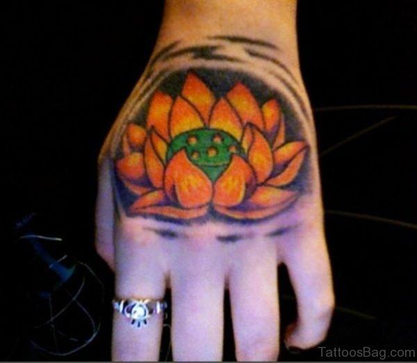 Yellow Lotus Tattoo On Hand
