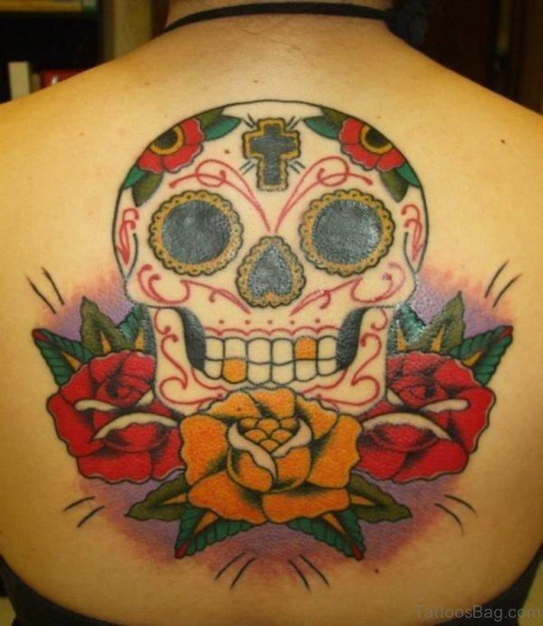 Yellow Rose Skull Tattoo