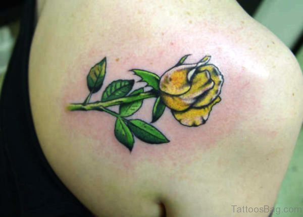 Yellow Rose Tattoo On Back Shoulder
