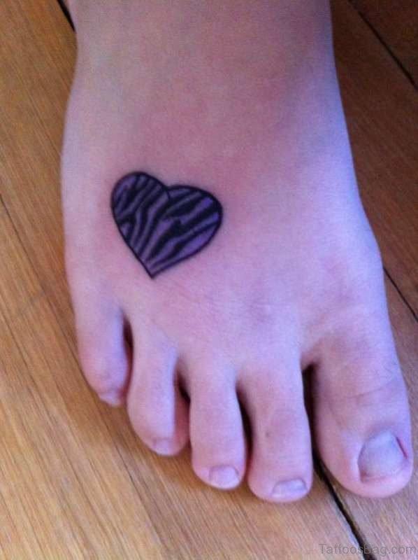 Zebra Heart Tattoo On Foot