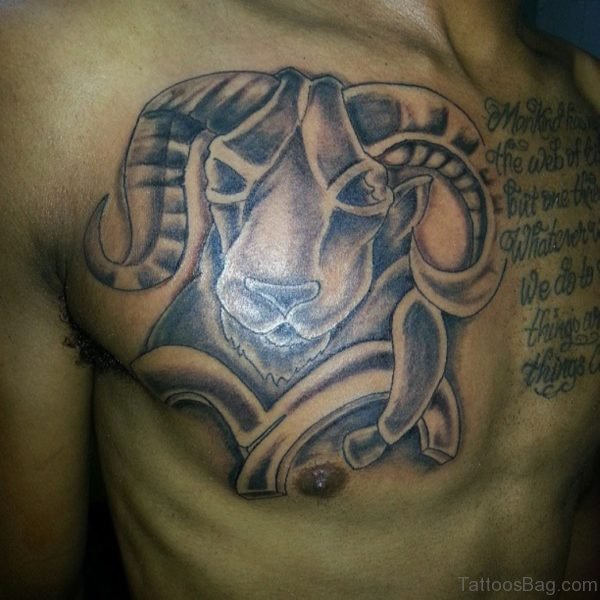 Zodiac Aries Head And Wording Tattoo On Chest