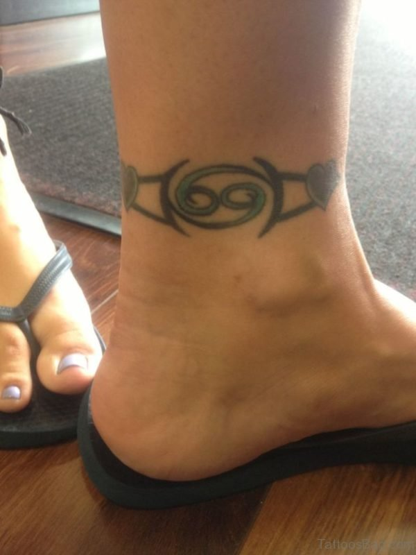 Zodiac Cancer Ankle Band Tattoo Design
