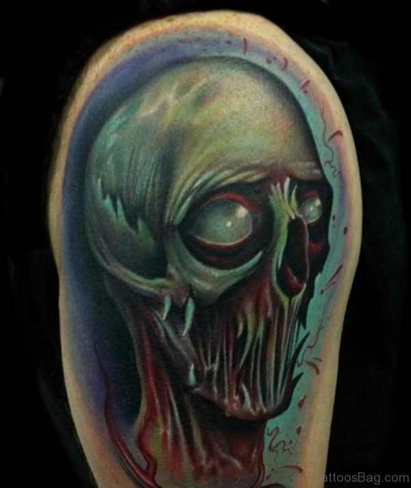 Zombie Alien Head Tattoo On Shoulder