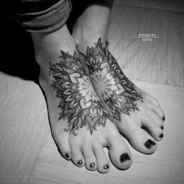 Black Mandala Tattoo On Foot