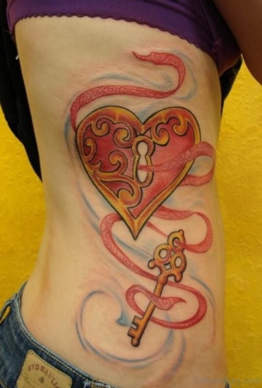 Eart Lock n Key Tattoo On Rib Side