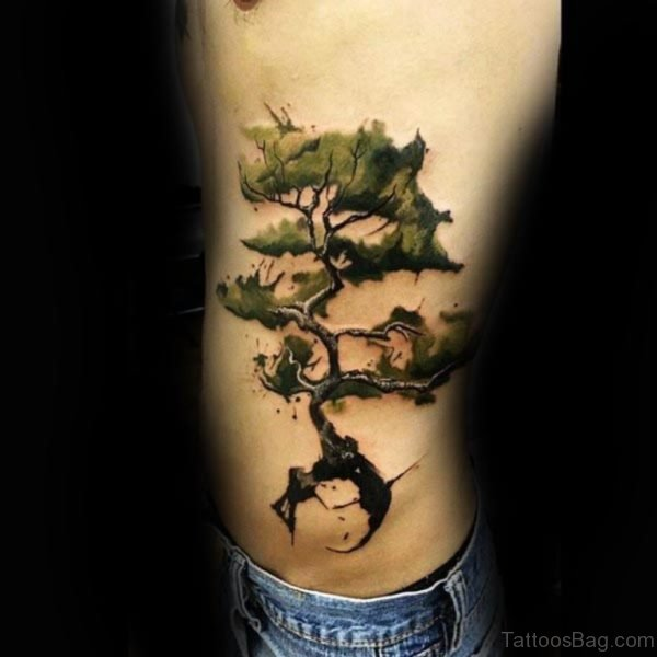 Fabulous Tree Tattoo Design on Rib