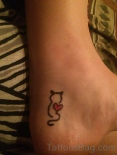 Heart And Cat Tattoo