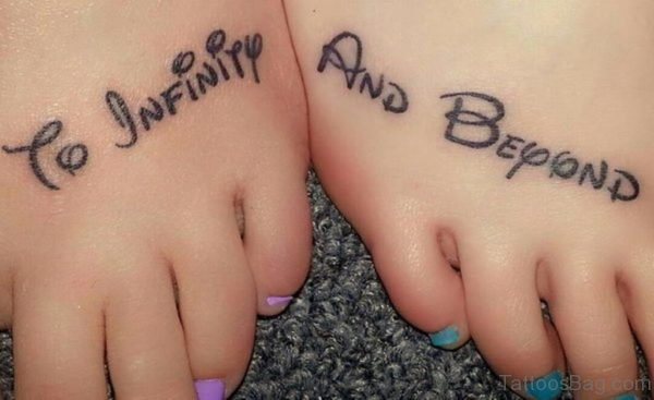 Infinity and beyond tattoo on feet