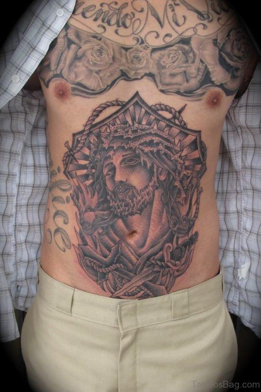 Jesus Tattoo Design On Stomach