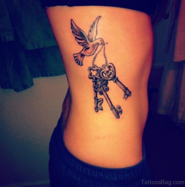 Key And Dove Tattoo