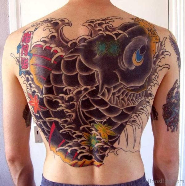 Koi Fish Tattoo On Back Body