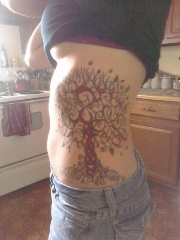 Lovely Tree Rib Cage Tattoo For Girls