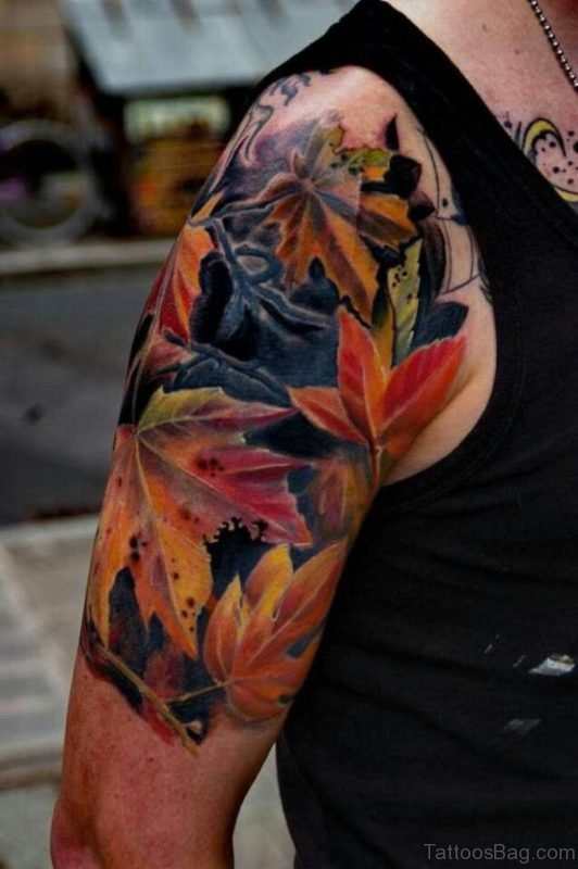 COlorful Autumn Leaves Fall Tattoo
