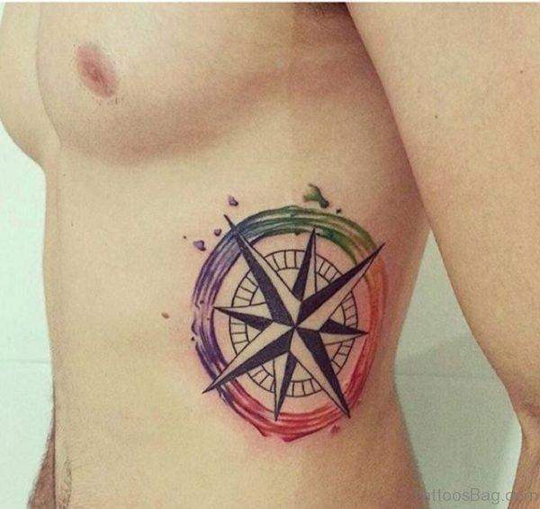 Compass Tattoo Design On Rib