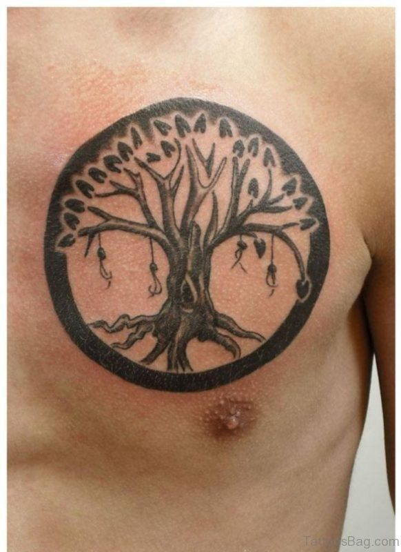 Ree Of Life Tattoo On Chest