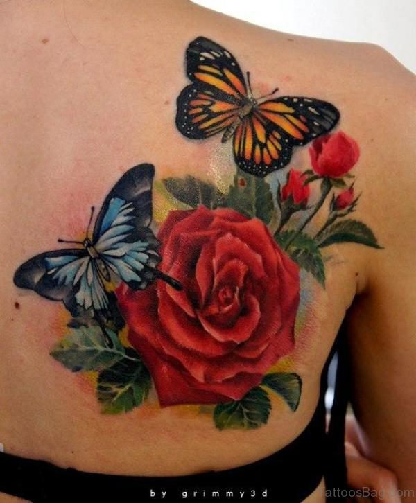 Abstract Butterfly And Flower Tattoo On Shoulder