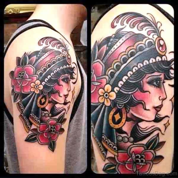 Adorable Gypsy Tattoos On Shoulder