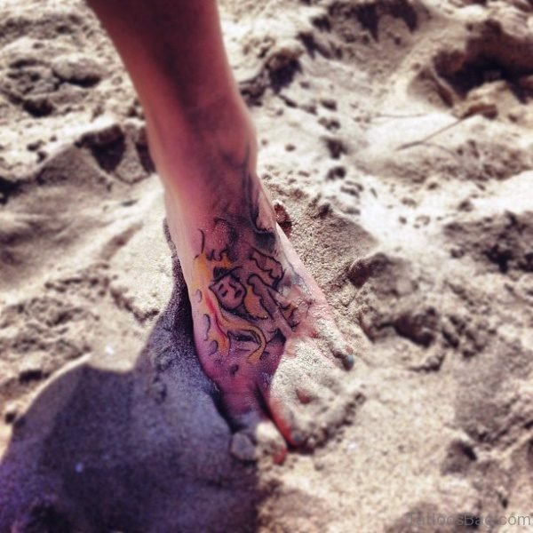 Adorable Mermaid Tattoo On Foot