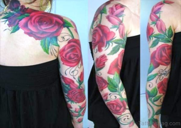 Adorable Roses Vine Tattoo On Arm