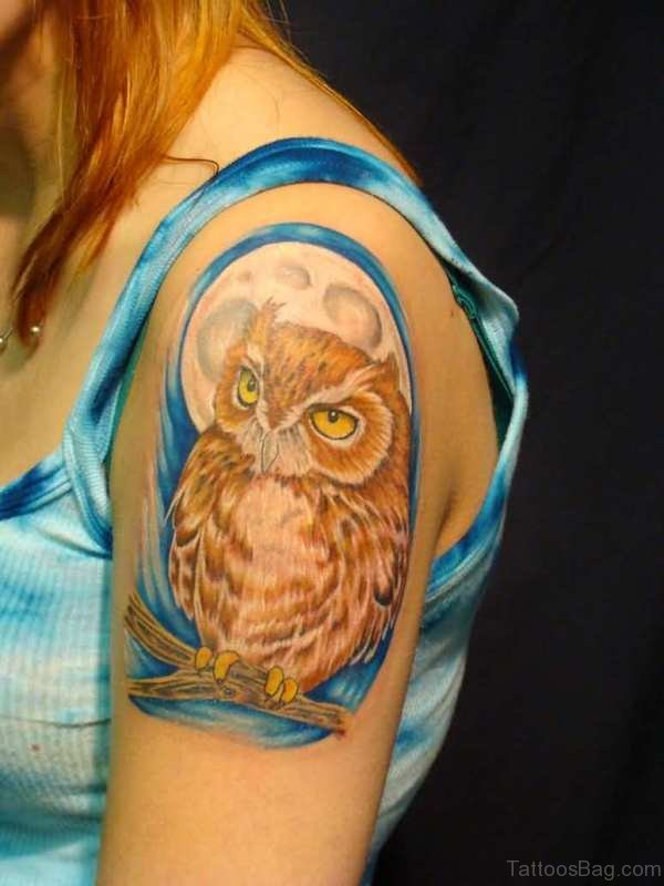 Amazing Brown Owl Tattoo On Shoulder
