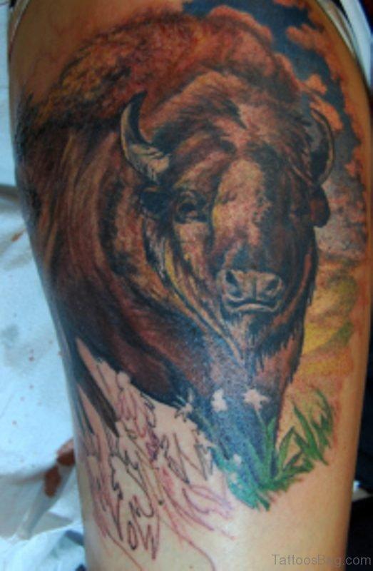 Amazing Buffalo Shoulder Tattoo