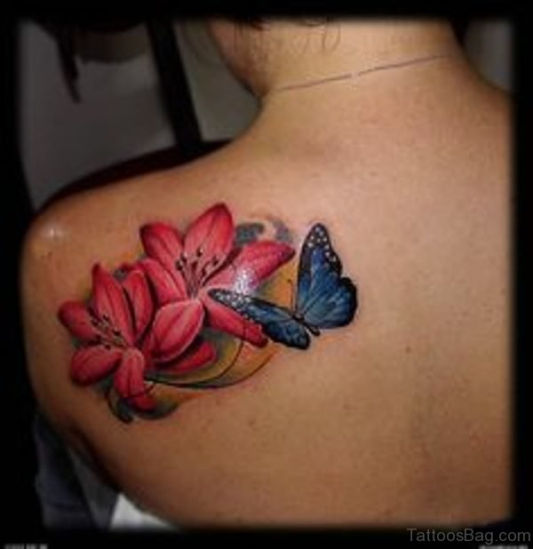 Amazing Butterfly And Flower Tattoo On Shoulder