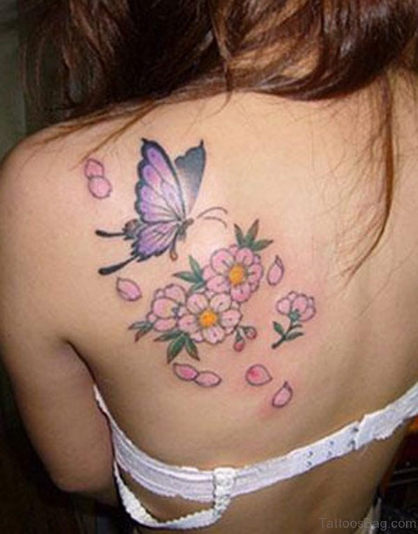 Amazing Butterfly And Flowers Tattoo