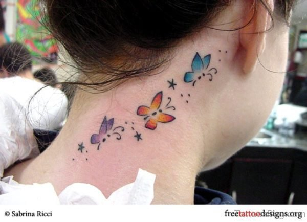 Amazing Butterfly And Star Tattoo Design