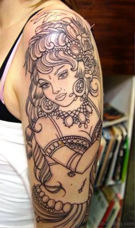 Amazing Gypsy Outline Tattoo On Shoulder