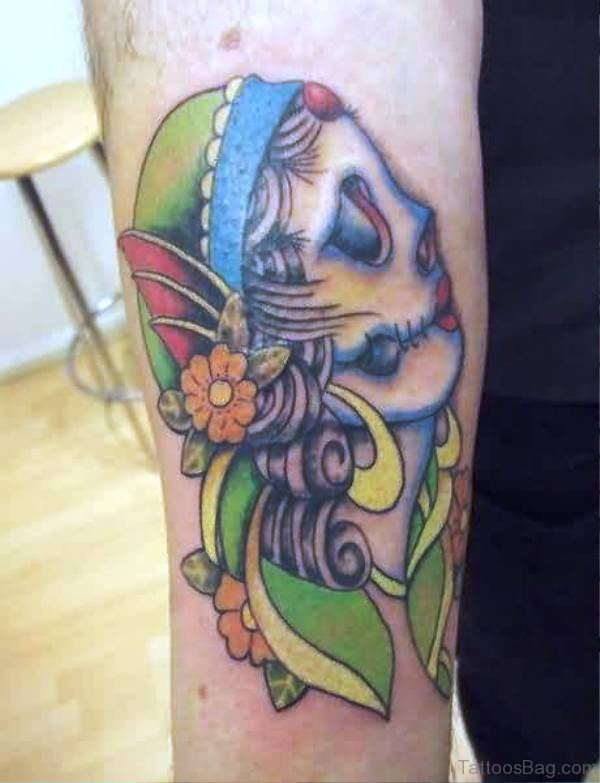 Amazing Gypsy Skull Tattoo Design