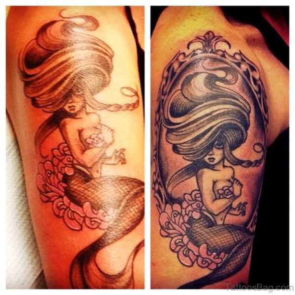 Amazing Mermaid Tattoo On Shoulder