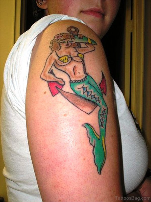 Amazing Mermaid Tattoo On Shoulder Design