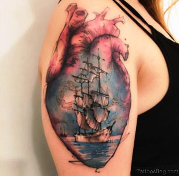 Anatomical Heart Sailing Ship Tattoo